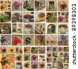 collage with flowerpots, Italy - stock photo