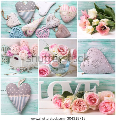 Collage with flowers roses, hyacinths, tulips and decorative hearts on wooden background. Selective focus. - stock photo