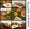 collage with food fruit - stock photo