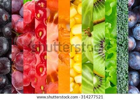 Collage with fruits and vegetables. Fresh food background - stock photo