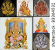 collage with ganesha art pieces - stock photo