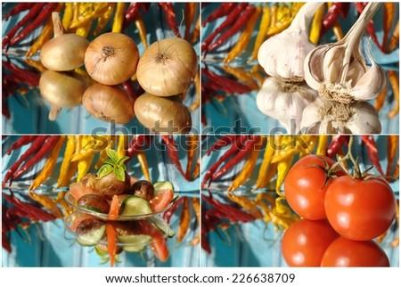 collage with garlic, onion, chili  - stock photo