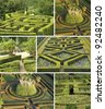 collage with geometric italian gardens, Tuscany, Europe - stock photo