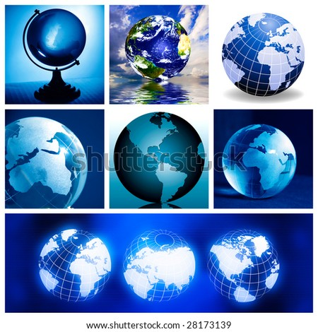 Collage with globes, made from seven images - stock photo