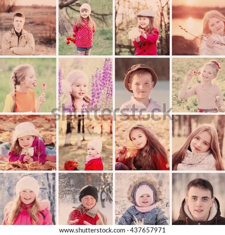 collage with happy children - stock photo