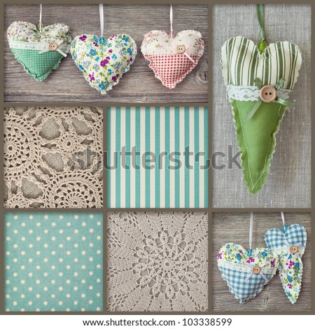Collage with hearts and lace - stock photo