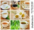 Collage with herbal tea - stock photo
