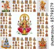 collage with hindu  gods ( Lakshmi, Hanuman,Shiva,Parvati,...) - stock photo