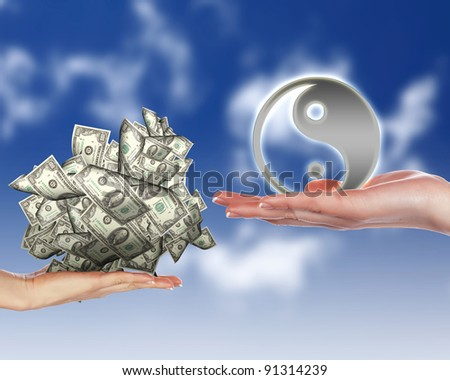Collage with human hands holding money against blue sky - stock photo