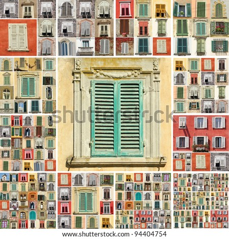 collage with images of retro windows with shutters in Italy - stock photo