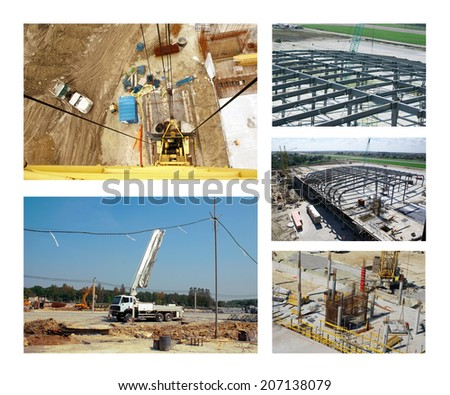 Collage with images of the construction site, building materials and metal structures - stock photo