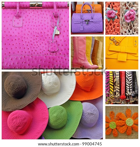collage with images of women accessories  from shop window display in Italy - stock photo