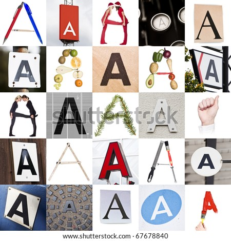 Collage with 25 images with letter A - stock photo