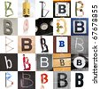 Collage with 25 images with letter B - stock photo