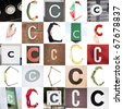 Collage with 25 images with letter C - stock photo