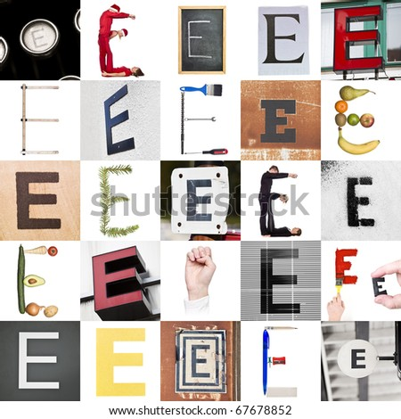 Collage with 25 images with letter E - stock photo