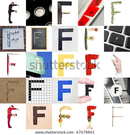Collage with 25 images with letter F - stock photo