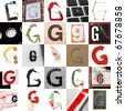 Collage with 25 images with letter G - stock photo