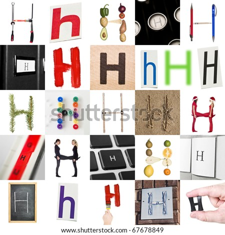 Collage with 25 images with letter H - stock photo