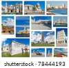Collage with landmarks and typical architecture of Havana - stock photo