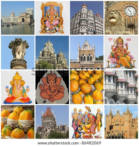 collage with landmarks of indian city Mumbai, India, Asia - stock photo