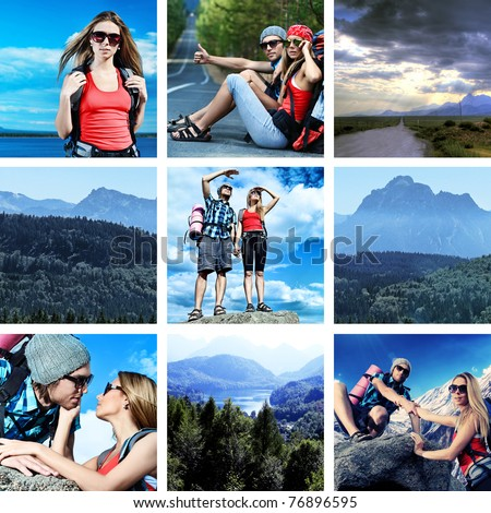 Collage with landscape and travel theme. - stock photo