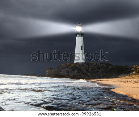 Collage with lighthouse at night with beam of light - stock photo