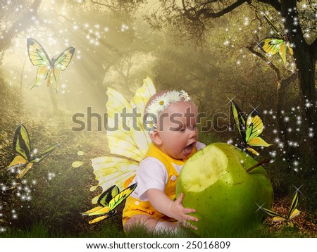 Collage with little girl and green apple - stock photo