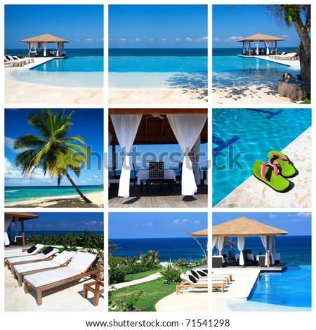 Collage with luxury swimming pool and summerhouse - stock photo