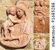 collage with Madonna and child ( detail from  Impruneta in Tuscany, Italy, Europe ) - stock photo