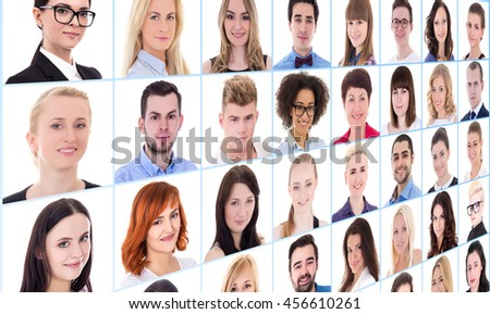 collage with many business people faces over white background
