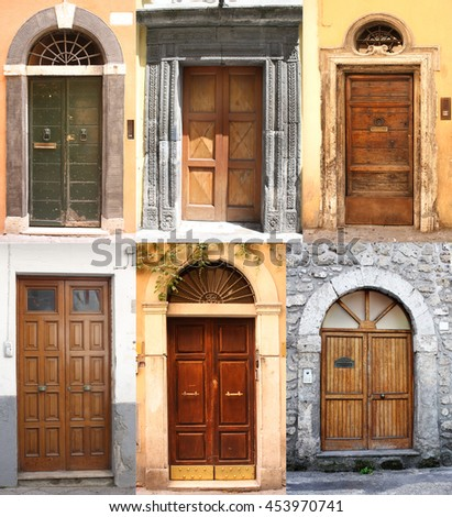 Collage with many different retro colorful doors