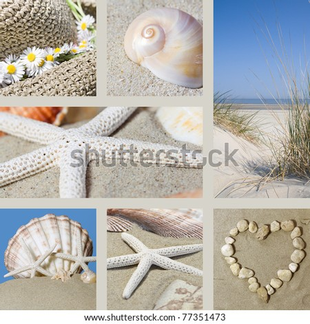 Collage with motives of summer on the beach - stock photo