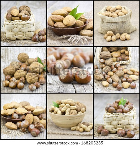 collage with nuts - stock photo