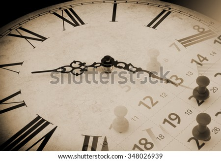 Collage with old clock and calendar with push pins, time concept - stock photo
