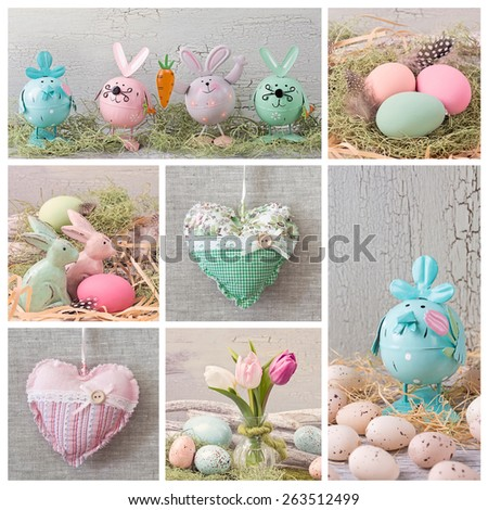 Collage with pastel colored easter decoration - stock photo