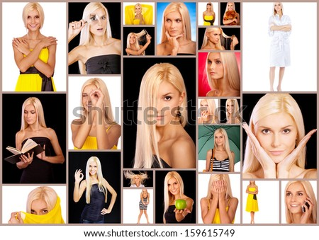 Collage with photos of beautiful young blonde woman in different situations in studio.