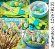 collage with photos of easter table  decorations in blue and green colors - stock photo