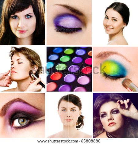 collage with photos of make-up stuff - stock photo