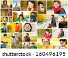 Collage with photos of young beautiful dark-haired woman in variety of situations in fall. - stock photo