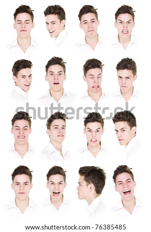 Collage with 16 portraits of a young man isolated on white background