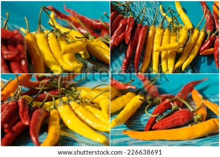 collage with red, yellow and orange chili - stock photo