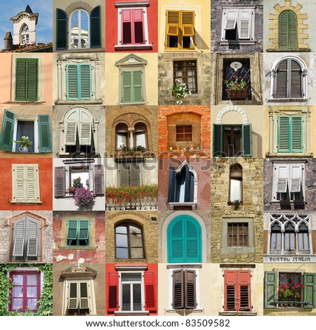 collage with retro windows from Italy - stock photo