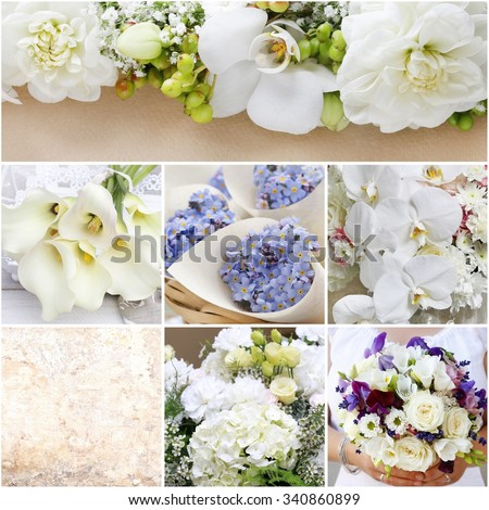 Collage with romantic wedding arrangements