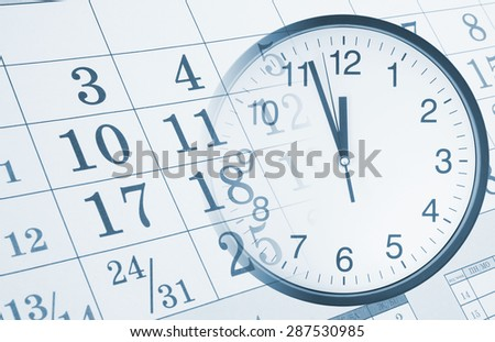 Collage with round clock and calendar page, time concept - stock photo
