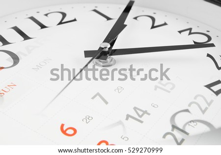 Collage with round clock and calendar pages, time concept