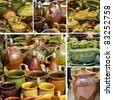 collage with rustic pottery, Poland - stock photo