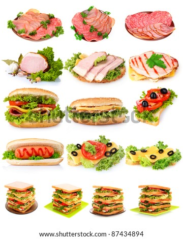 collage with sandwiches isolated on white - stock photo