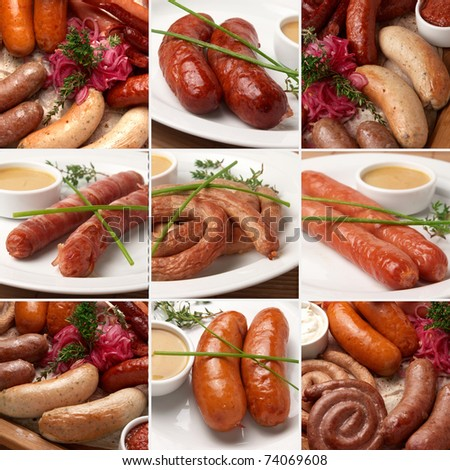 collage with sausages
