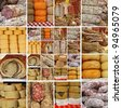 collage with  sausages and cheese on italian   market, Tuscany, Italy, Europe - stock photo